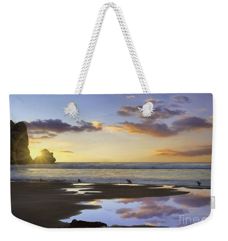 Morro Rock Park Sunset Weekender Tote Bag featuring the digital art Morro Rock Reflection by Sharon Foster