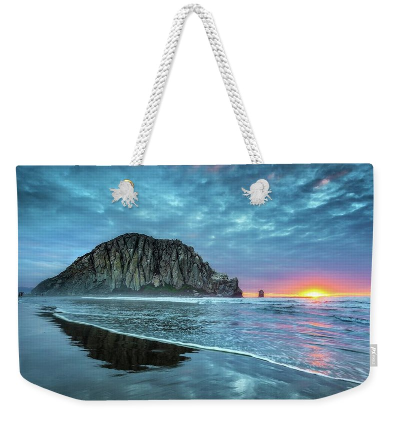 Tranquility Weekender Tote Bag featuring the photograph Morro Sunset by Tom Grubbe