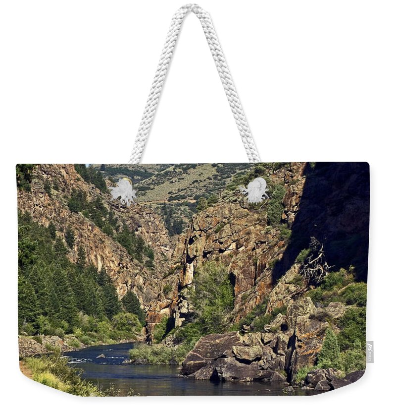Morrow Point Reservoir Weekender Tote Bag featuring the photograph Morrow Point Reservoir by Sally Weigand