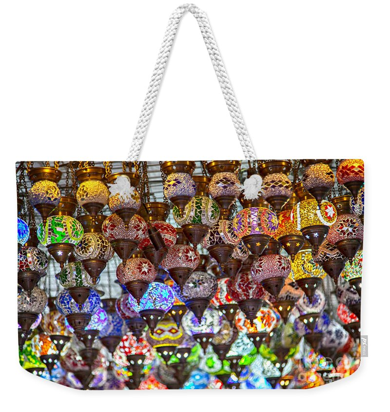 Mosaic Weekender Tote Bag featuring the photograph Mosaic Lamps by Sophie McAulay