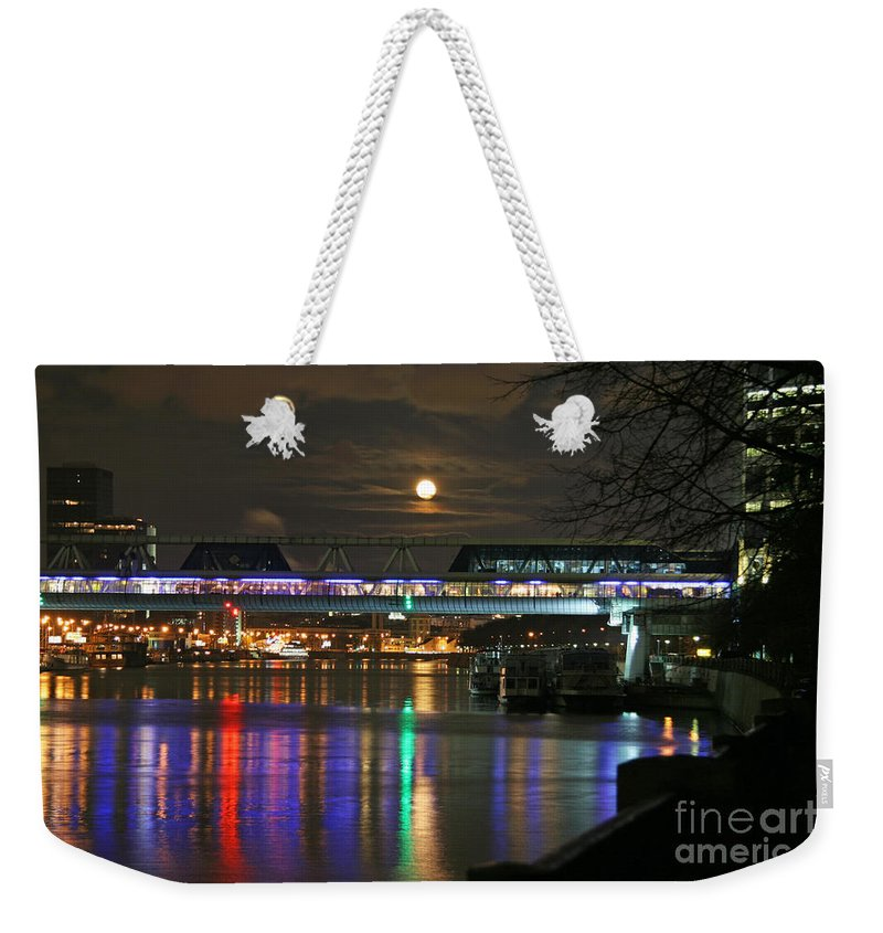 Night Weekender Tote Bag featuring the photograph Moscow At Night In Winter by Lali Kacharava
