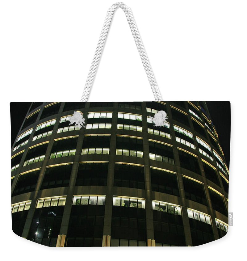 Night Weekender Tote Bag featuring the photograph Moscow Skyscraper Night by Lali Kacharava