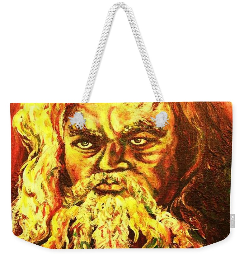 Moses Weekender Tote Bag featuring the painting Moses At The Burning Bush by Carole Spandau