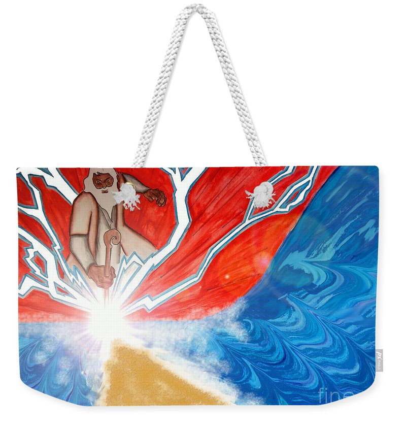 Justin W Moore Weekender Tote Bag featuring the painting Moses by Justin Moore