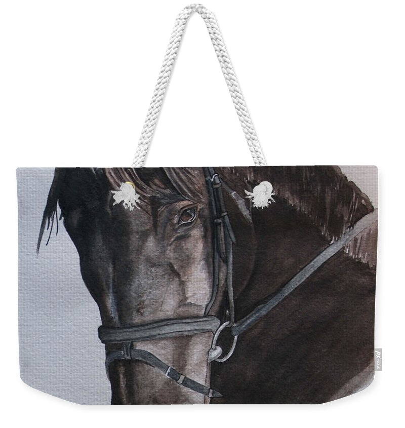 Horse Weekender Tote Bag featuring the painting Mossandi Darwin by Tracey Beer