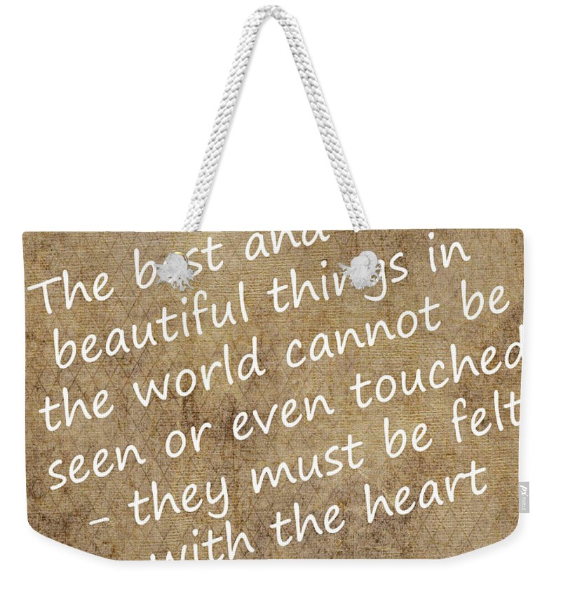 Quote Weekender Tote Bag featuring the digital art Most Beautiful Three by Mair Hunt