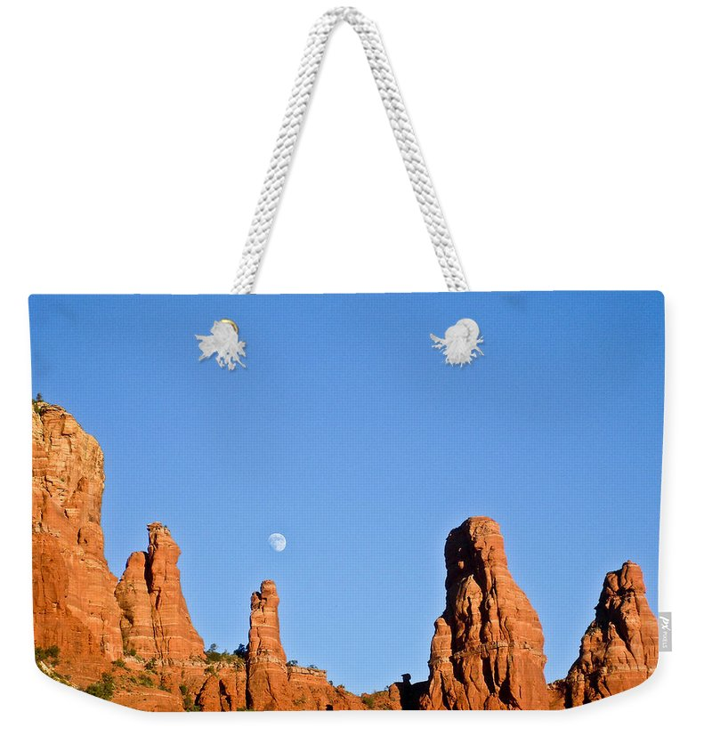 Mother Weekender Tote Bag featuring the photograph Mother And Child And Moon by Douglas Barnett