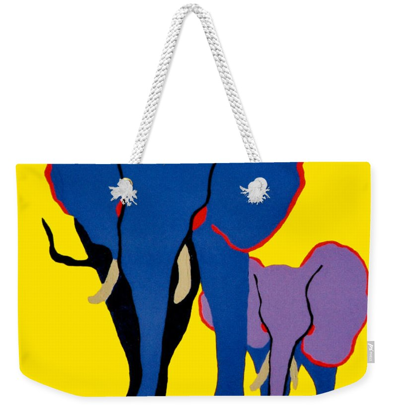 Elephants Weekender Tote Bag featuring the painting Mother And Child by Andrew Petras