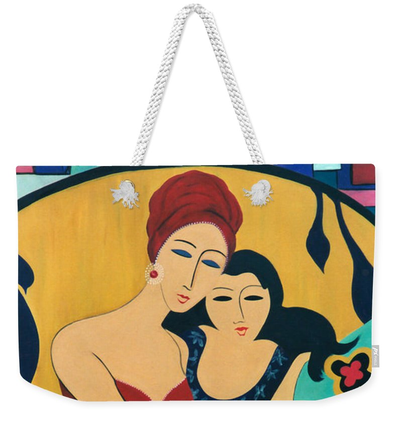 #mother And Child Weekender Tote Bag featuring the painting Mother And Child by Jacquelinemari