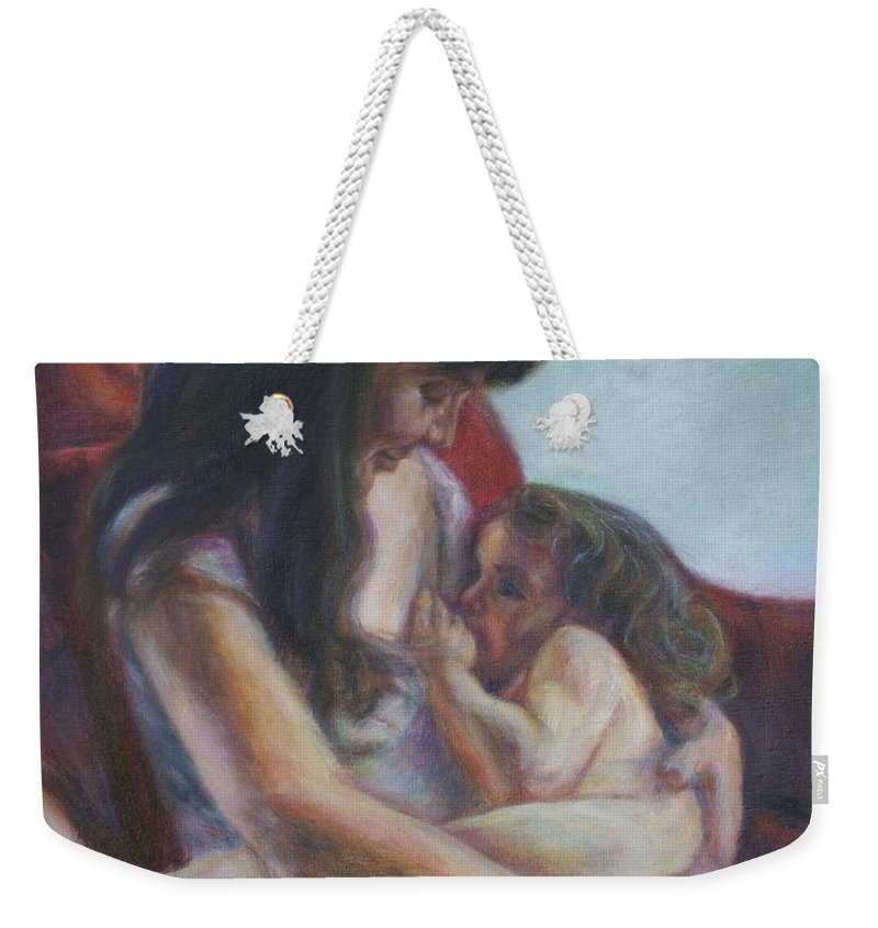 Portrait Weekender Tote Bag featuring the painting Mother And Child by Quin Sweetman
