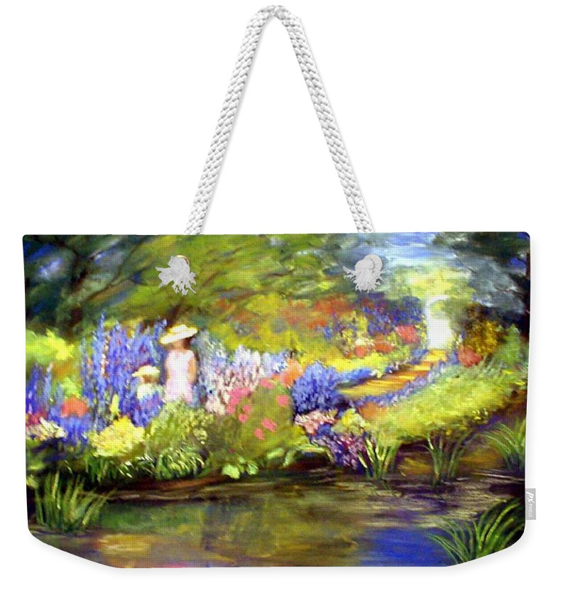Flower Garden Weekender Tote Bag featuring the painting Mother And Daughter by Gail Kirtz