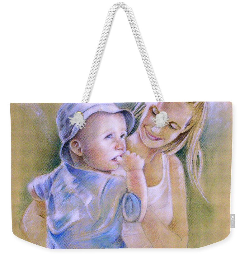 Portrait Weekender Tote Bag featuring the painting Mother And Son by Miki De Goodaboom