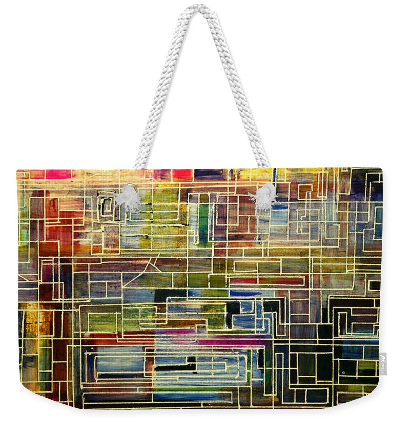 New York City Artist Weekender Tote Bag featuring the painting Mother Board by Jack Diamond