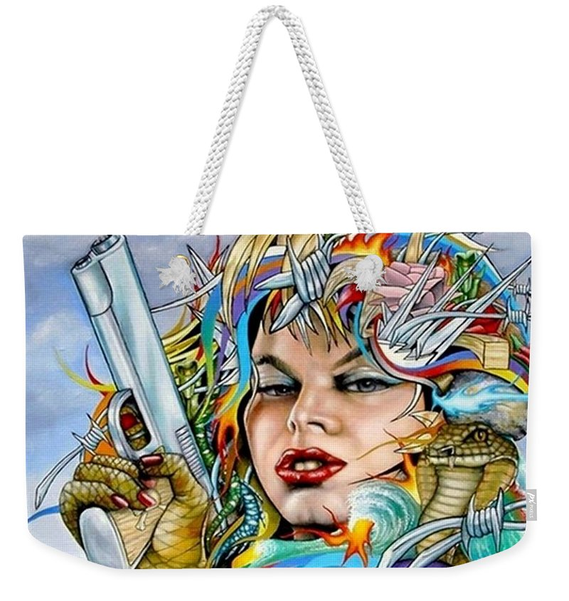 Portrait Weekender Tote Bag featuring the painting Mother Nature's Dark Side by John Kuhenbeaker