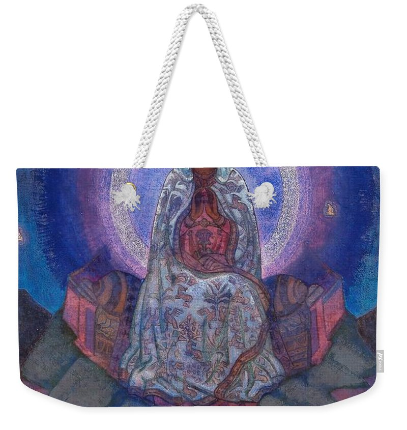 1930's Weekender Tote Bag featuring the painting Mother Of The World by Nicholas Roerich