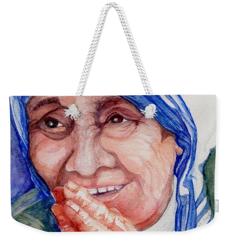 Elle Fagan Weekender Tote Bag featuring the painting Mother Teresa by Elle Smith Fagan