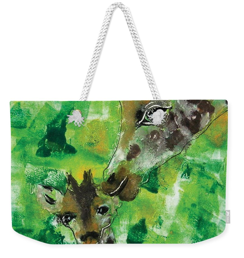 Giraffes Weekender Tote Bag featuring the mixed media Motherly Love by Cori Solomon