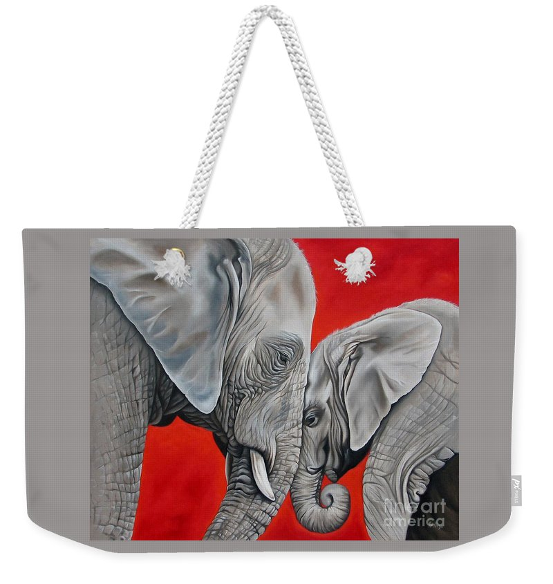 Elephant Weekender Tote Bag featuring the painting Mothers Love by Ilse Kleyn
