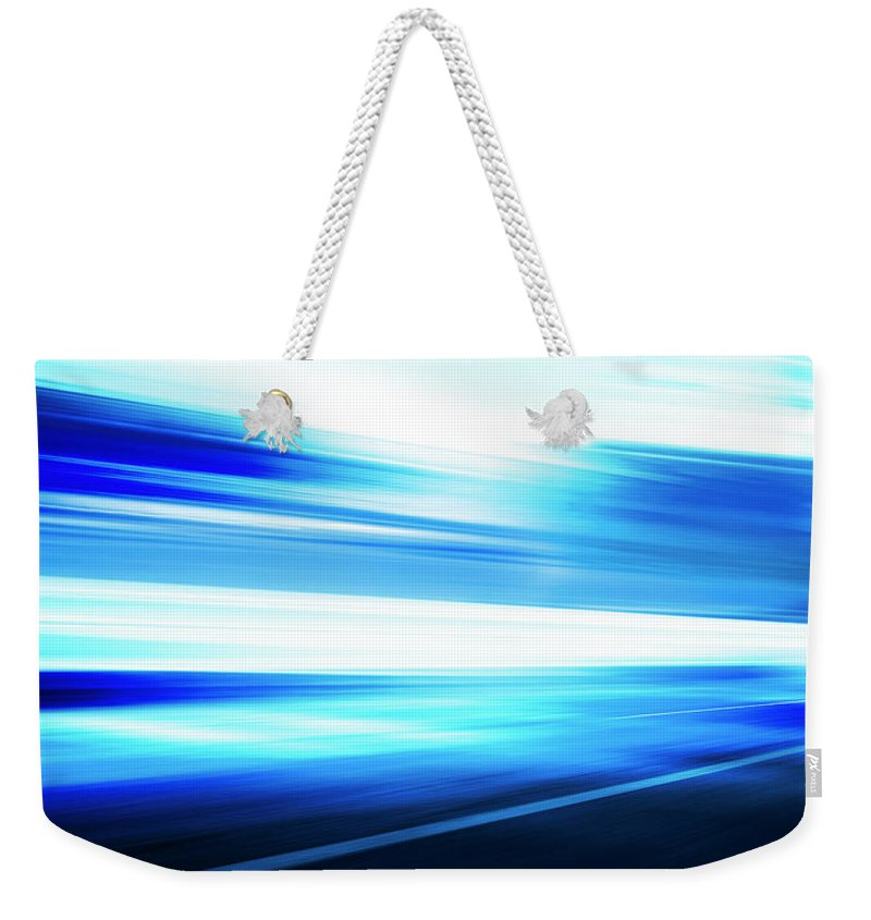 Empty Weekender Tote Bag featuring the digital art Motion Blue Road by Aaron Foster
