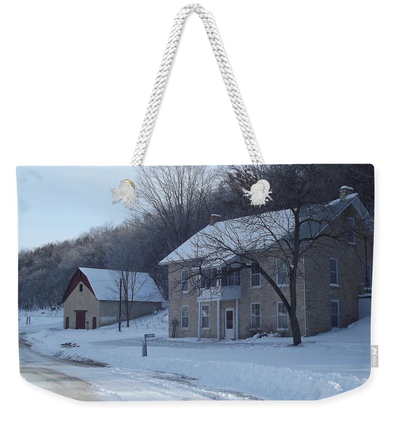 Elkader Iowa Weekender Tote Bag featuring the photograph Motor Mill Inn And Livery by Bonfire Photography