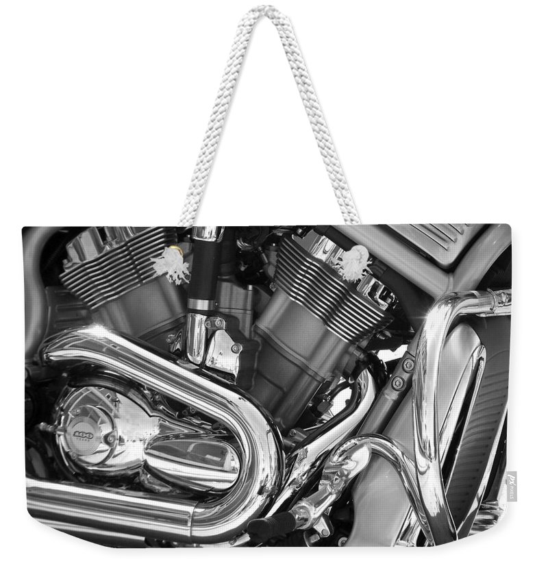 Motorcycles Weekender Tote Bag featuring the photograph Motorcycle Close-up Bw 1 by Anita Burgermeister