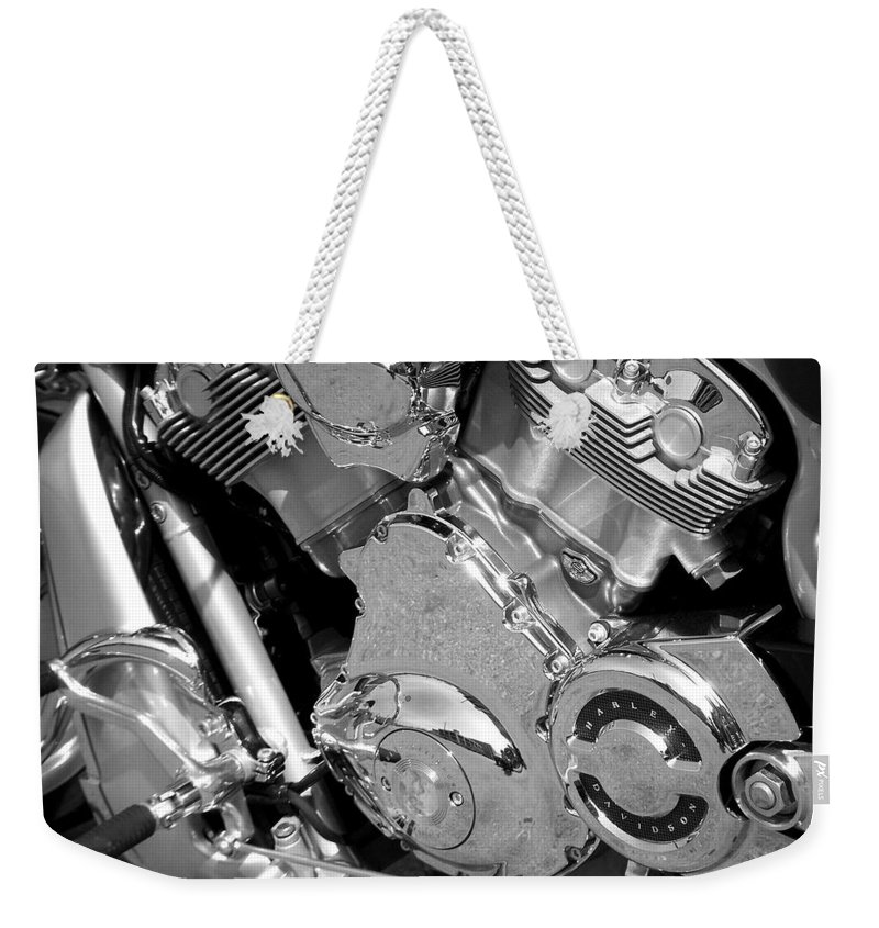 Motorcycles Weekender Tote Bag featuring the photograph Motorcycle Close-up Bw 2 by Anita Burgermeister
