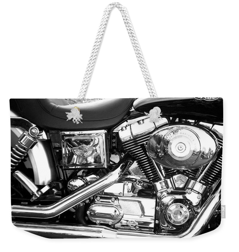 Motorcycles Weekender Tote Bag featuring the photograph Motorcycle Close-up Bw 3 by Anita Burgermeister