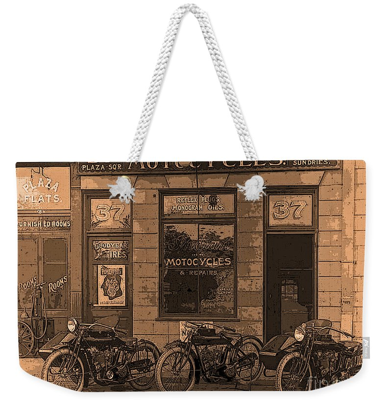 Motorcycles Weekender Tote Bag featuring the digital art Motorcycles And Furnished Rooms by Maureen Tillman