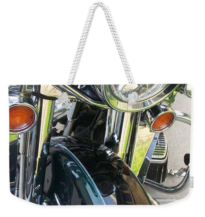Motorcycles Weekender Tote Bag featuring the photograph Motorcyle Classic Headlight by Anita Burgermeister