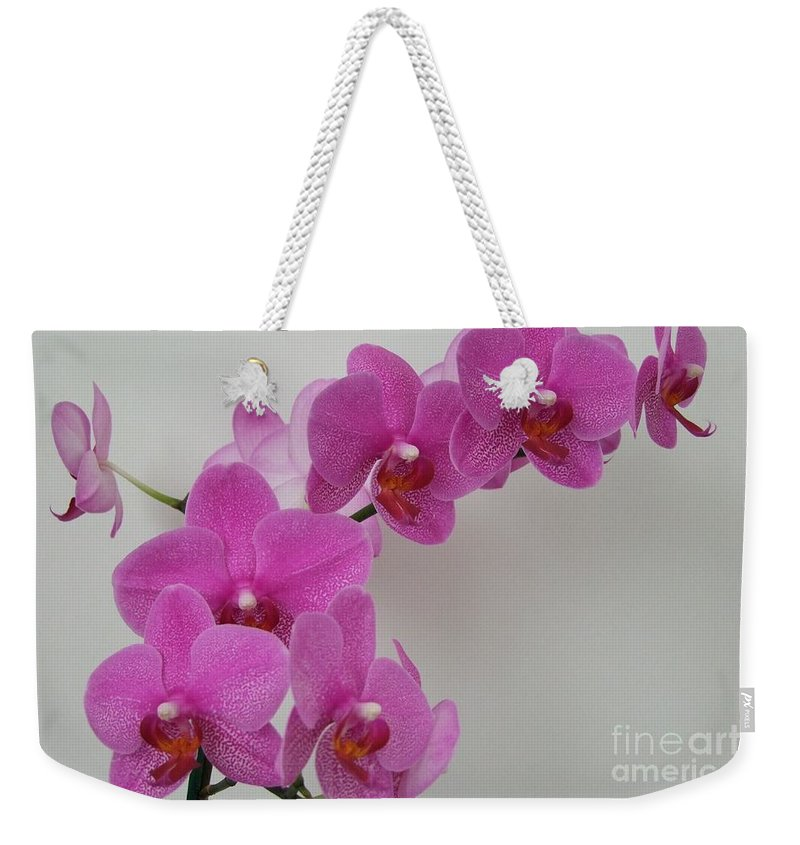 Pink Weekender Tote Bag featuring the photograph Mottled Orchid 1 by Mary Deal