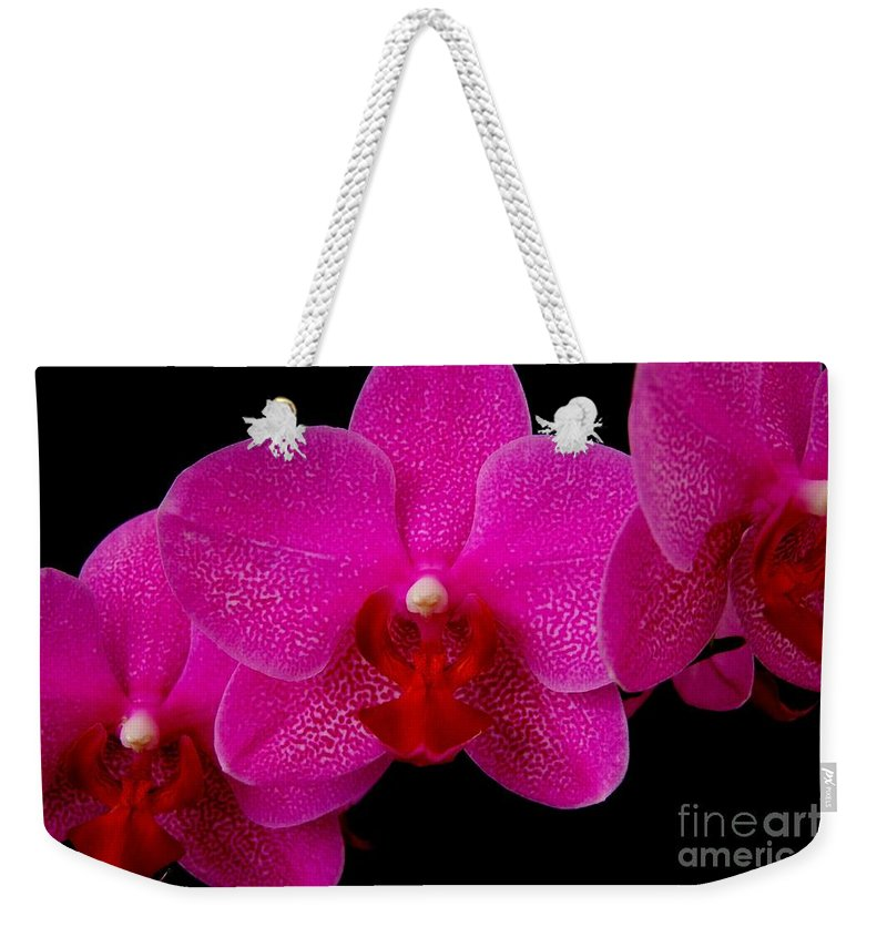Pink Weekender Tote Bag featuring the photograph Mottled Orchid 8 by Mary Deal