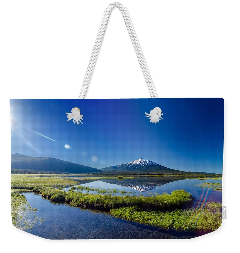 Mountain Weekender Tote Bag featuring the photograph Mount Bachelor Lens Flare by Jess Kraft