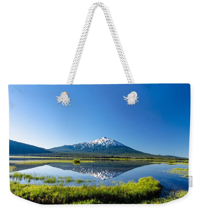 Mountain Weekender Tote Bag featuring the photograph Mount Bachelor Vertical Reflection by Jess Kraft