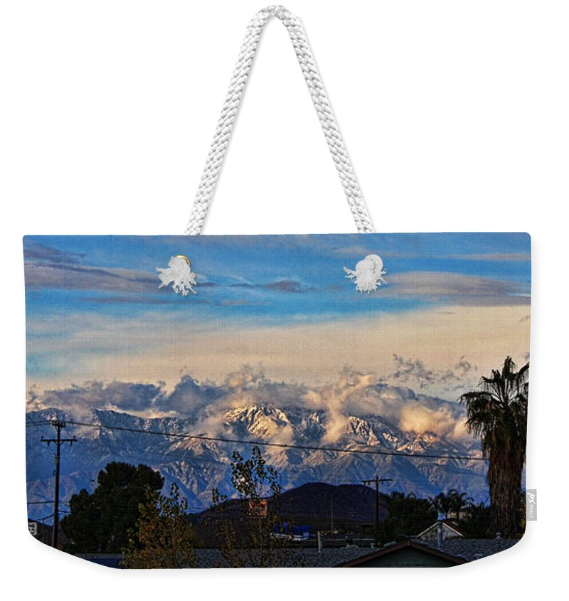 Mountain Weekender Tote Bag featuring the photograph Mount Baldy On A New Years Eve by Tommy Anderson