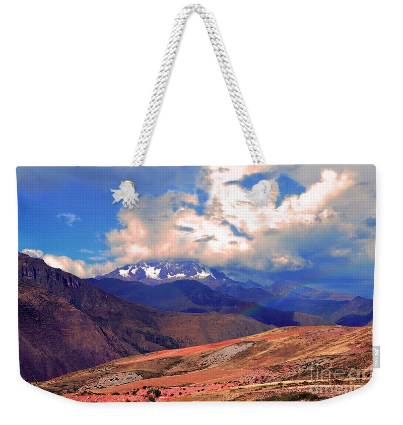 Rain Weekender Tote Bag featuring the photograph Mount Chicon Rainbow In Andes by Catherine Sherman
