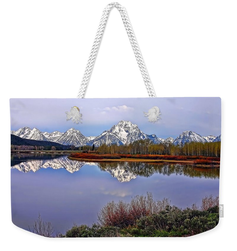 Morning Weekender Tote Bag featuring the photograph Mount Moran And Jackson Lake by Gary Holmes