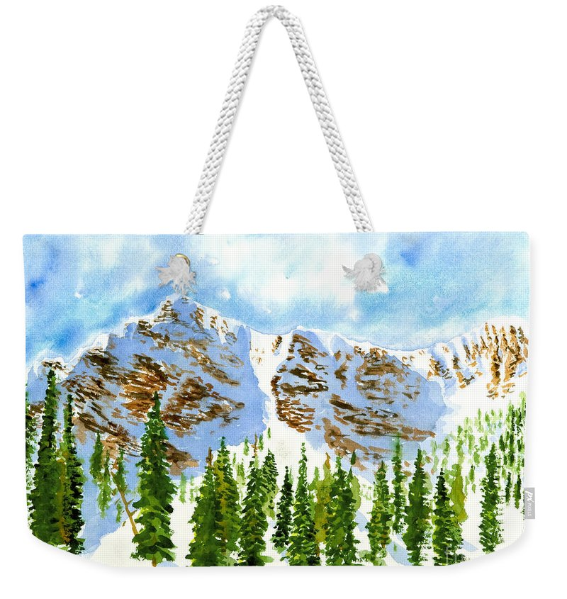 Mountains Weekender Tote Bag featuring the painting Mount Ogden by Walt Brodis