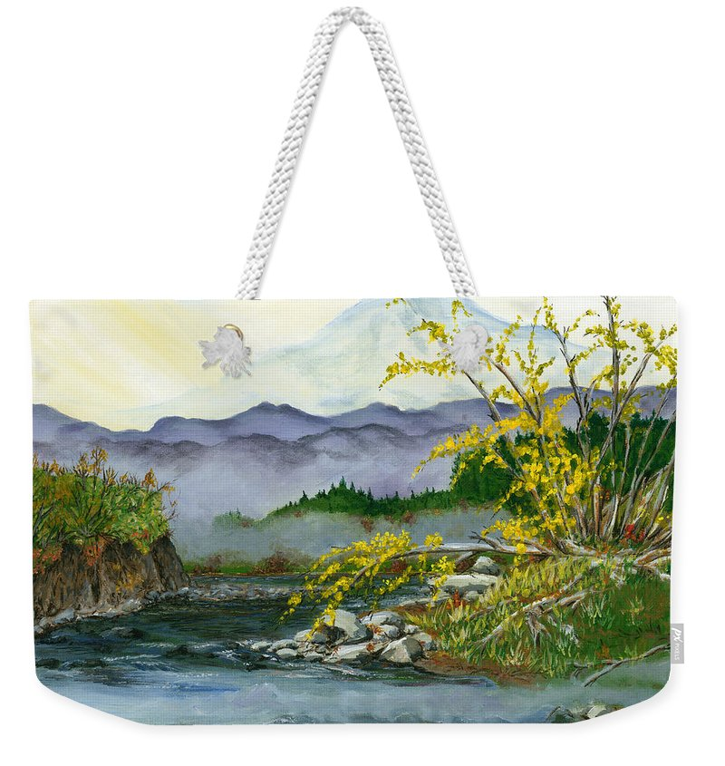 Landscape Weekender Tote Bag featuring the painting Mount Rainier From Carbon River by Carlene Salazar