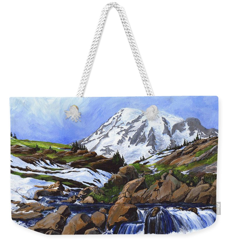 Landscape Weekender Tote Bag featuring the painting Mount Rainier From Edith Creek by Carlene Salazar