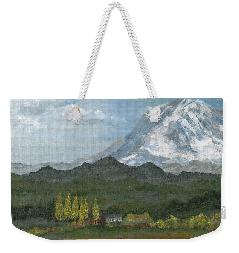 Landscape Weekender Tote Bag featuring the painting Mount Rainier From Lake Rap John by Carlene Salazar