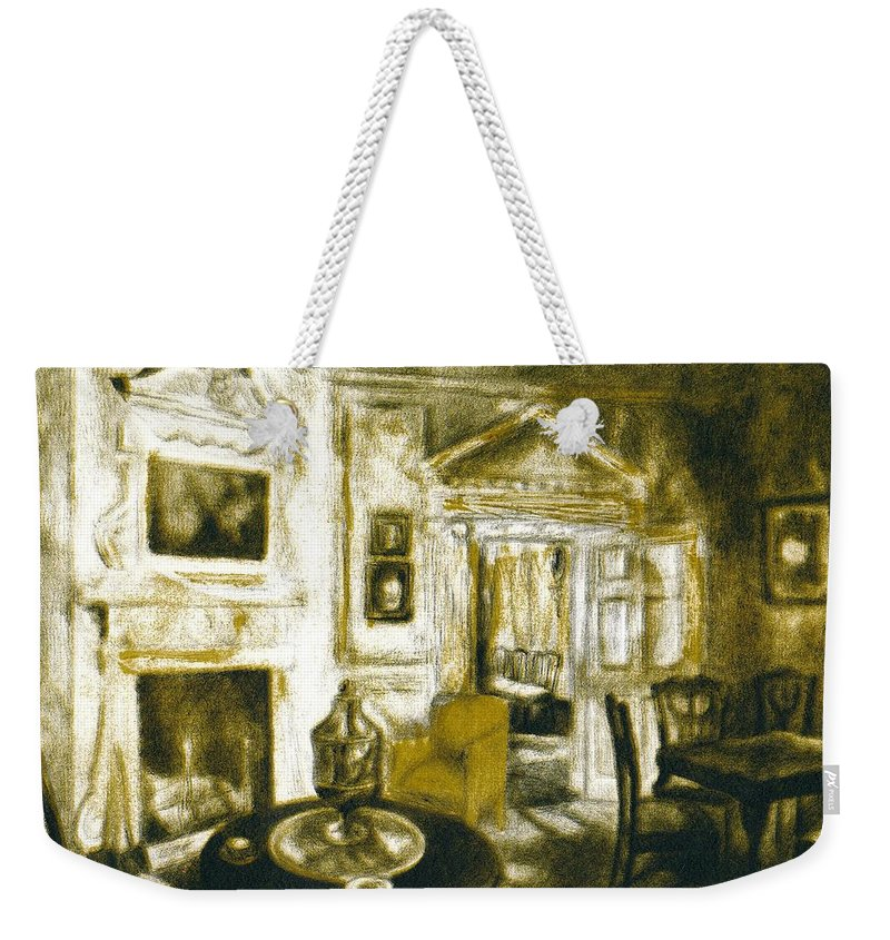 Kendall Kessler Weekender Tote Bag featuring the drawing Mount Vernon Ambiance by Kendall Kessler