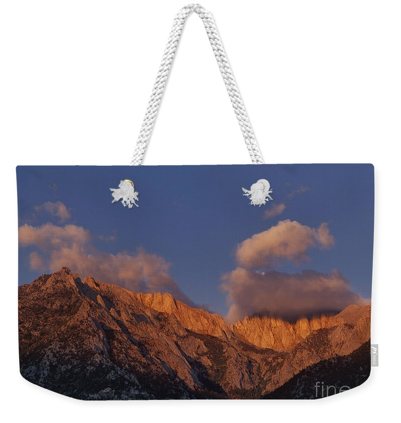 Dave Welling Weekender Tote Bag featuring the photograph Mount Whitney In Clouds Alabama Hills Eastern Sierras California by Dave Welling