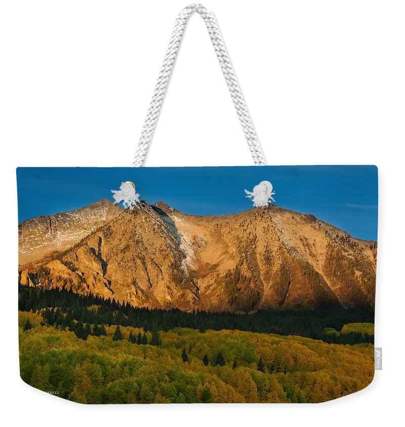 Landscape Weekender Tote Bag featuring the photograph Mountain Autumn Sunrise by Bill Sherrell