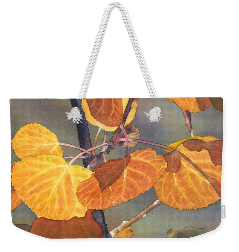 Leaves Weekender Tote Bag featuring the painting Mountain Gold by Sandy Haight