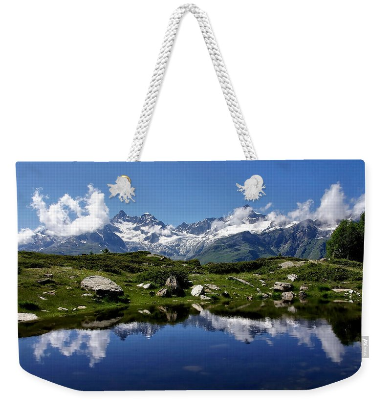 Mountains Weekender Tote Bag featuring the photograph Mountain Lake by Annie Snel