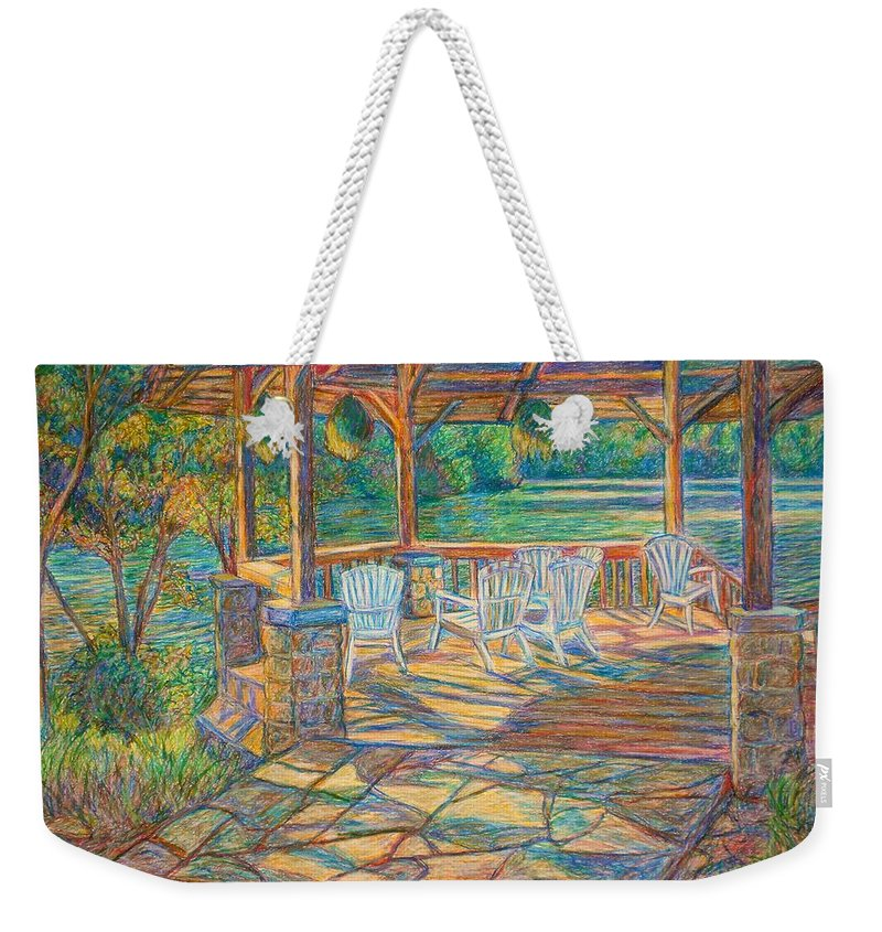 Lake Weekender Tote Bag featuring the painting Mountain Lake Shadows by Kendall Kessler