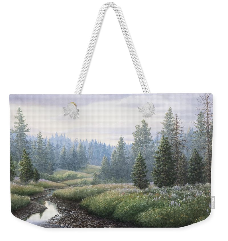 Meadow Weekender Tote Bag featuring the painting Mountain Meadow by Mike Stinnett