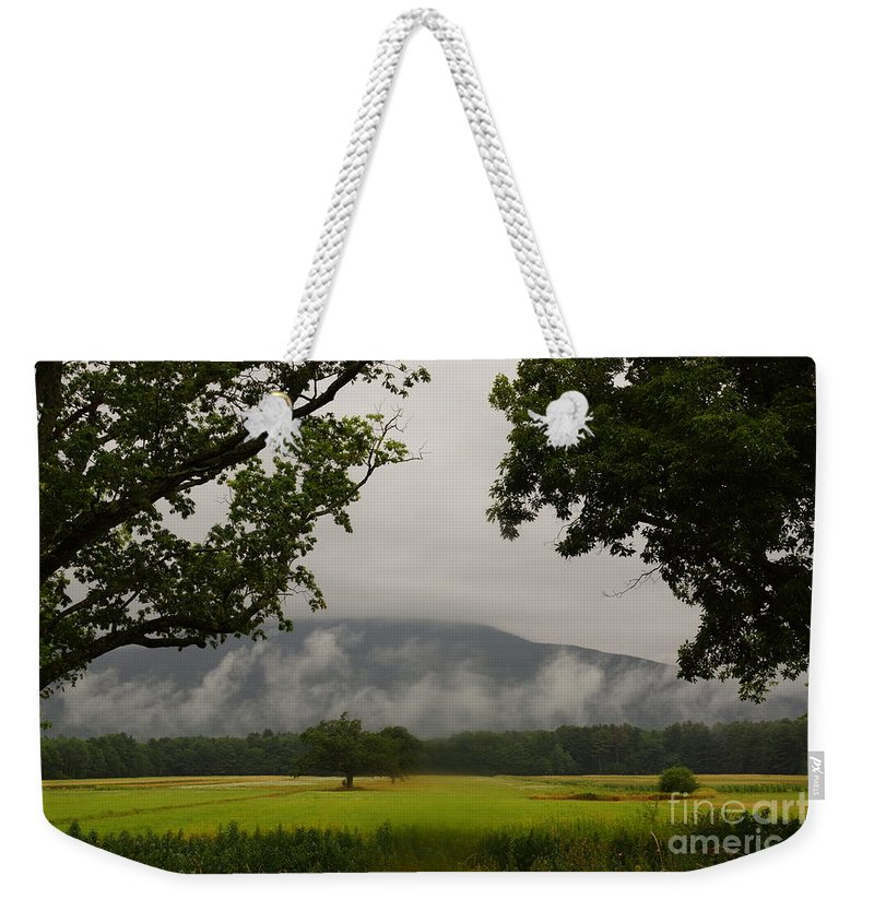 Early Morning Mountain Fog Weekender Tote Bag featuring the photograph Mountain Mist by Jeffery L Bowers
