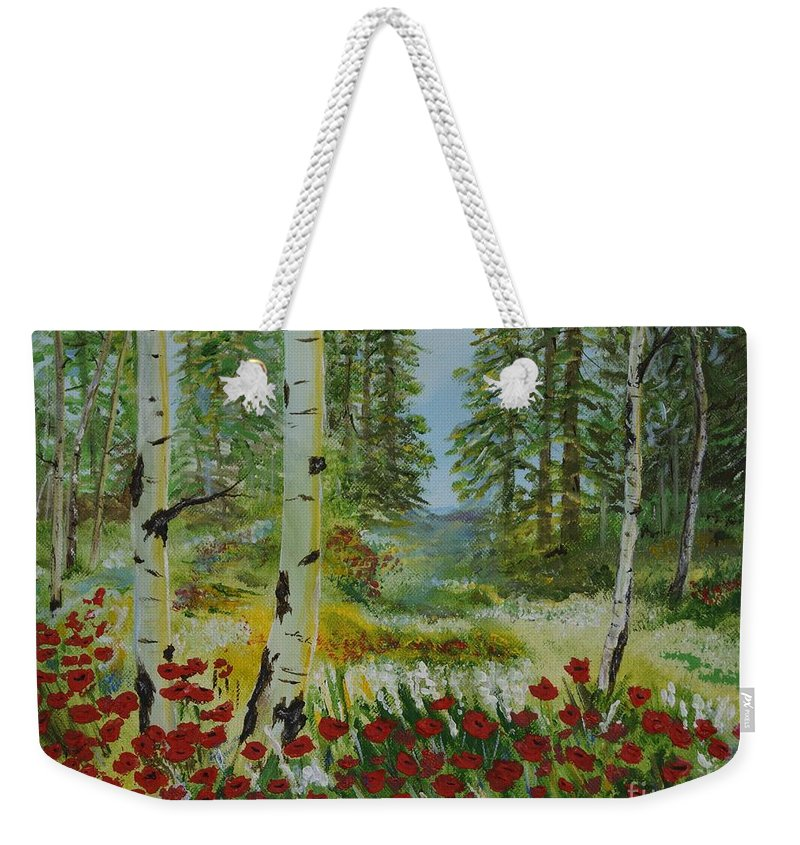 Mountain Weekender Tote Bag featuring the painting Mountain Poppies by Leslie Allen