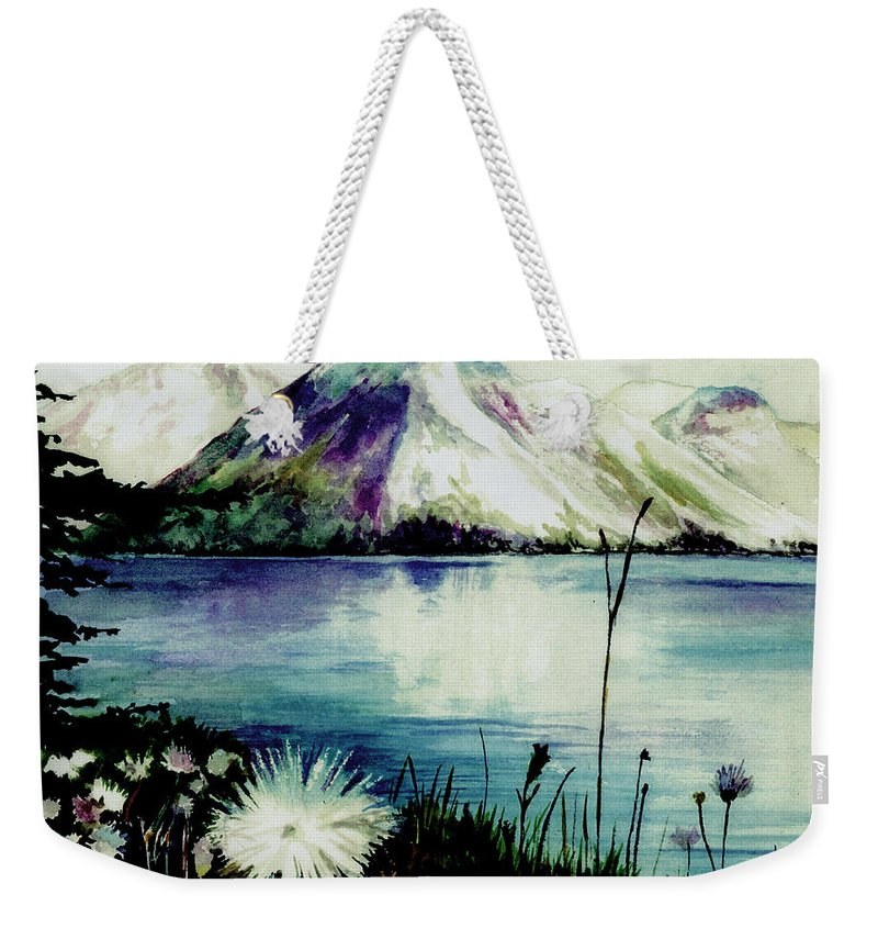 Landscape Weekender Tote Bag featuring the painting Mountain Serenity by Brenda Owen